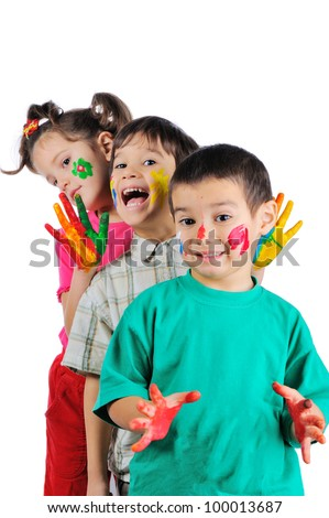 Thre beautiful painted kids standing in a row one after another - stock photo