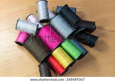 thread and needle - stock photo