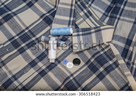 thread, button, needle, sewing, needlework, darning - stock photo