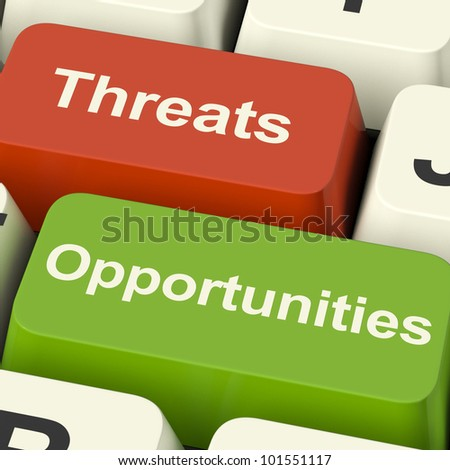 Threats And Opportunities Computer Keys Showing Business Risks Or Improvements - stock photo