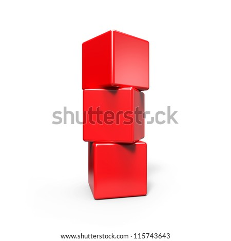 Three abstract  red cubes  on white - stock photo