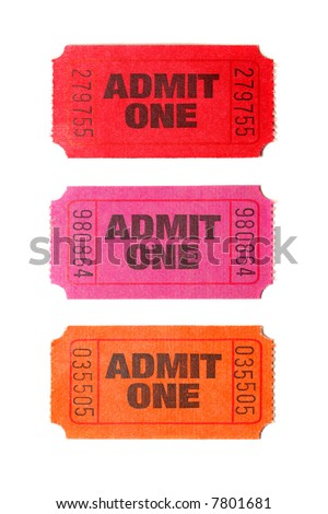 Three Admit One tickets isolated on white background - stock photo