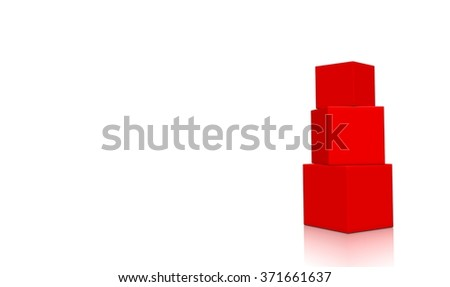 Three aligned red 3d blank concept boxes with reflections, isolated on white background. Rendered illustration. - stock photo
