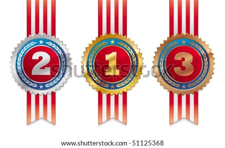 Three americans medals - gold, silver and bronze - stock photo