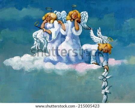 Three angels are questioning the escape of one of their classmates - stock photo