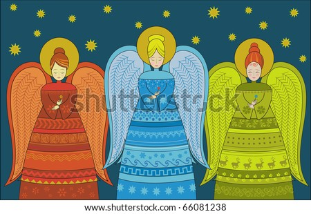 Three Angels (vector version also available, see my gallery) - stock photo