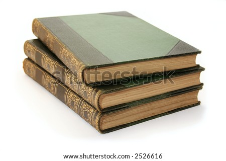 Three antique hard cover books - part of a childrens encyclopedia set from the 1900's. - stock photo