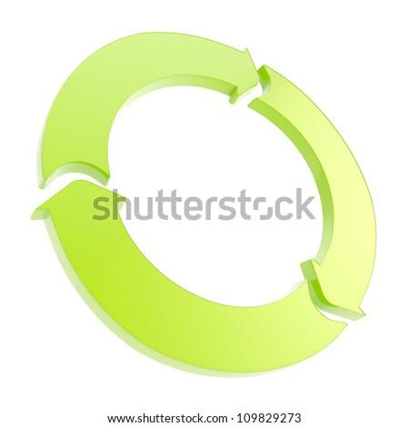 Three arrow segment green copyspace emblem tag isolated on white background - stock photo