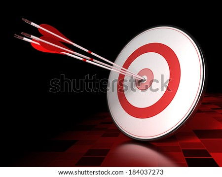 Three arrows hitting the center of a red target over dark tiled background. Illustration of leading concept or success - stock photo