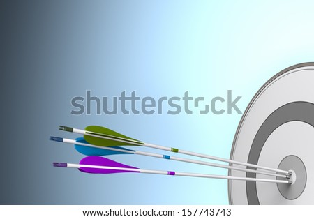 Three arrows hitting the center of a target. Image over a blue background with free space for text - stock photo