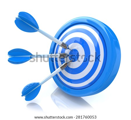 Three arrows in the center of a blue target. Image suitable for illustration of strategic business solutions or corporate strategy purpose  - stock photo