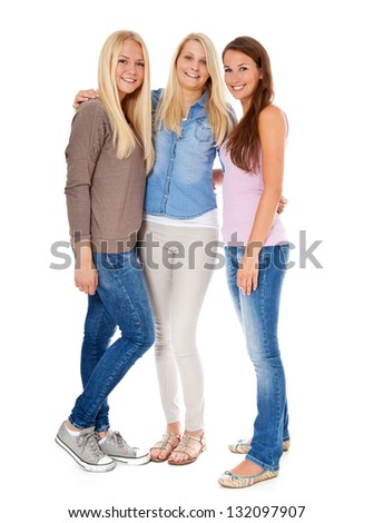 Three attractive girls. All on white background. - stock photo
