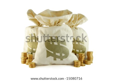 Three bags of money and group of coins near - stock photo