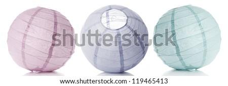 Three beautiful lanterns (lampoons) - stock photo