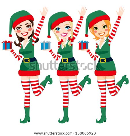 Three beautiful Santa Claus Elf helpers holding Christmas presents and waving hand - stock photo