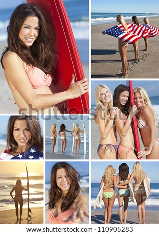 Three beautiful young women wearing bikinis with their surfboards and wrapped in American flags on a sunny beach - stock photo