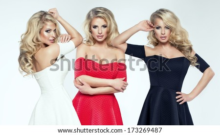 Three beauty woman. One woman three times - stock photo