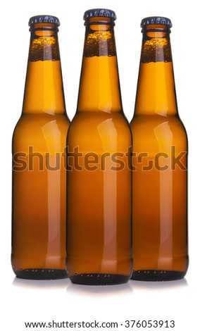 Three beer bottle - stock photo