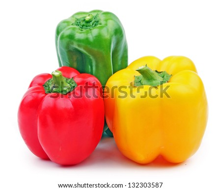 three bell peppers isolated on white background - stock photo