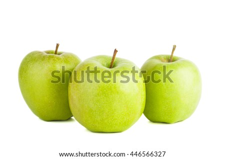 Three big green apples isolated on white background - stock photo