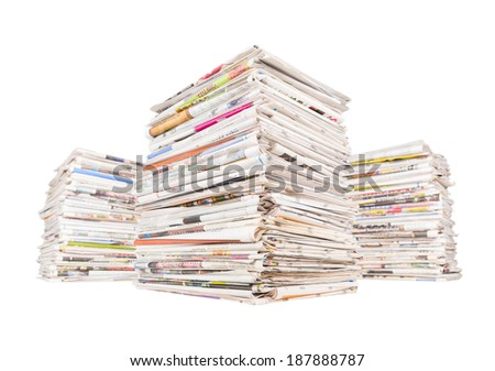 Three big stacks of generic newspapers isolated on white background. Important news, journalism, power of the media, newspaper and magazine subscription concept. Large pile of newspapers. - stock photo