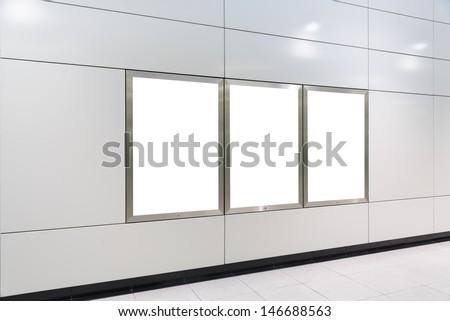 Three big vertical / portrait orientation blank billboard - stock photo