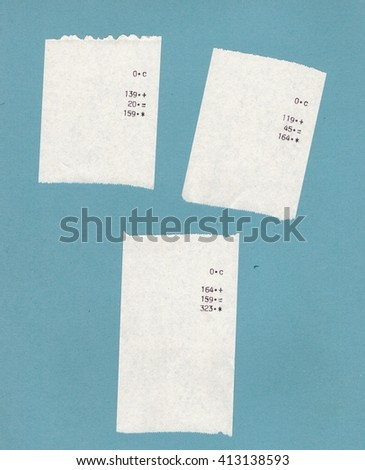 Three bills or receipts isolated over light blue background - stock photo