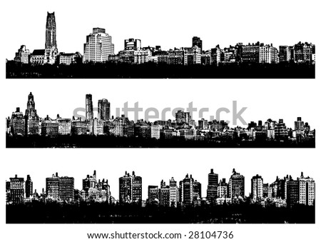 Three Black and white panorama cities - illustration - stock photo