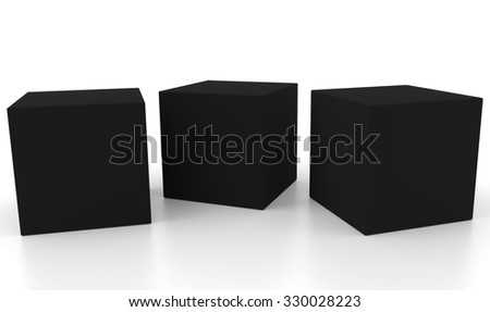 Three black 3d concept boxes next to each other, with reflection, isolated on white background. Rendered illustration. - stock photo