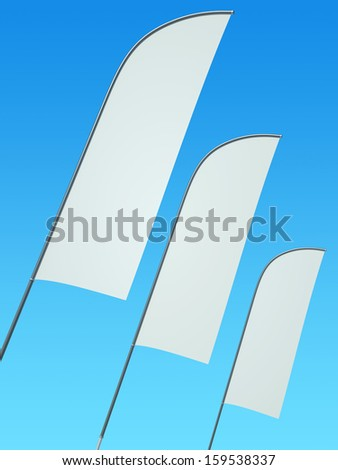 Three blank feather banners against clear sky. 3D render. - stock photo