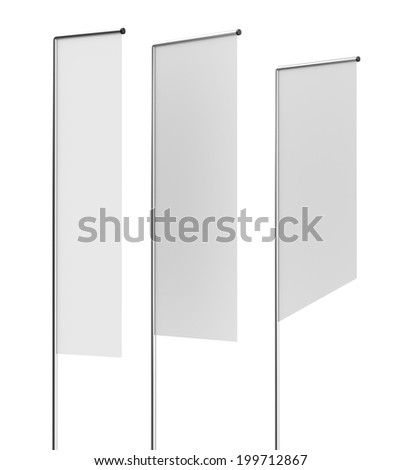 Three blank flags or shelf-stoppers on white - stock photo
