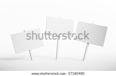 Three blank signs - stock photo