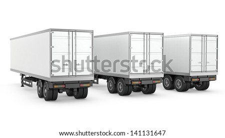 Three blank white parked semi trailers, isolated on white background - stock photo