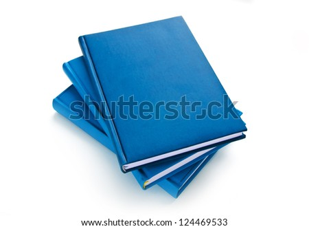 Three blue diary isolated on white background - stock photo
