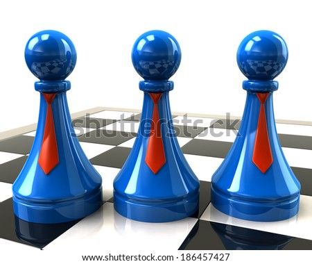 Three blue pawns with red neckties - stock photo