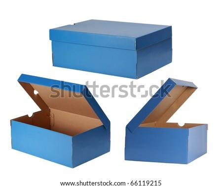 three blue shoe box isolated on white - stock photo