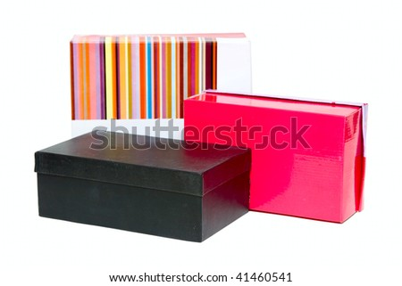 Three boxes isolated on white - stock photo