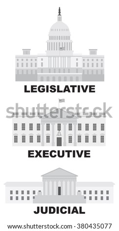 Three Branches of United States Government Legislative Executive Judicial Buildings Grayscale Raster Illustration - stock photo
