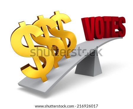 """Three bright, gold dollar signs weigh one end of a gray balance beam down while a red """"VOTES"""" sits high in the air on the other end. Focus is on dollar signs.  Isolated on white. - stock photo"""