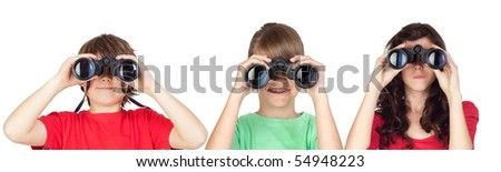Three brothers looking for binoculars isolated on white background - stock photo