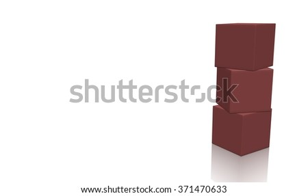 Three brown 3d blank concept boxes on top of each other, isolated on white background. Rendered illustration. - stock photo