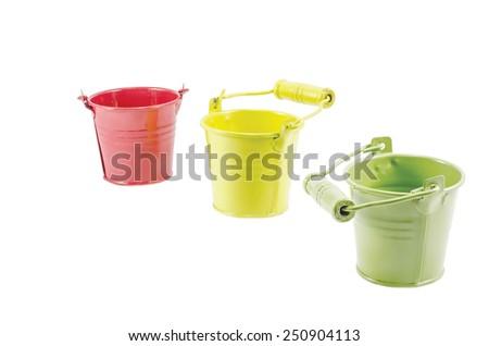 Three buckets cascade isolated on white - stock photo