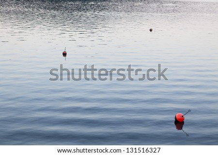 Three buoys in calm water - stock photo