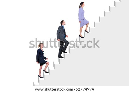 Three business people climbing a flight of stairs, white background. - stock photo