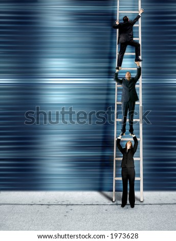 three business people climbing the corporate ladder, montage - stock photo