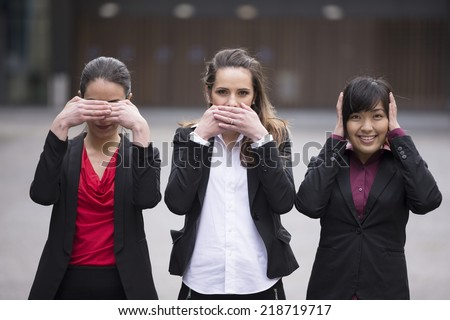 Three business women, concept: Hear no See no Speak no evil. - stock photo