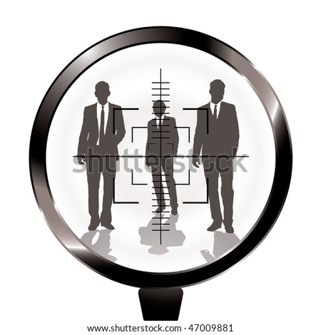 Three businessmen in a gun sight with shadow effect - stock photo