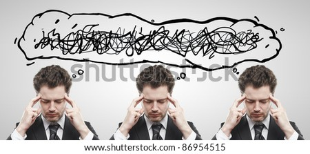 Three businessmen with confusing tangle of thoughts. Thinking men. Conceptual image of a open minded men. On a gray background - stock photo