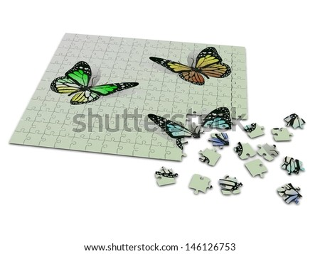 Three butterflies on puzzle - stock photo