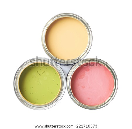 Three cans of paint, top view above, isolated over the white background - stock photo